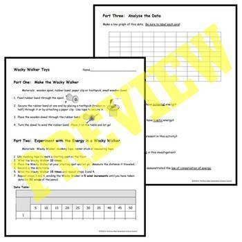 Fun Easy Energy Transformation Hands-On Activity Worksheet MS-PS3-2 MS-PS3-5