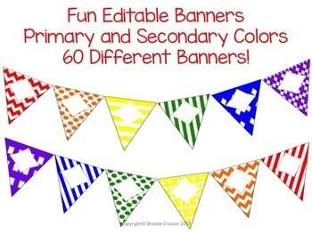 Fun Editable Banners (Primary and Secondary Colors)