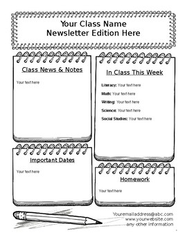 Fun Editable Notebook Classroom Newsletter