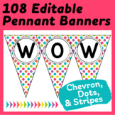 "Editable Pennants in ""Crazy for Color"" Chevron, Stripes, and Dots"