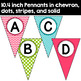 Editable Pennant Banners in Pink, Turquoise, and Lime Green
