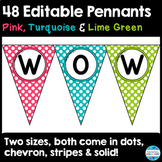 48 Editable Pennant Banners in Pink, Turquoise, and Lime Green