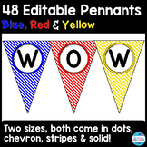 48 Editable Pennant Banners in Primary Colors (blue, red &