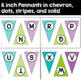 Editable Pennant Banners in Purple, Turquoise, and Lime Green