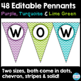 48 Editable Pennant Banners in Purple, Turquoise, and Lime Green