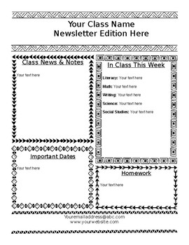 Fun Editable Southwestern Doodles Weekly Newsletter