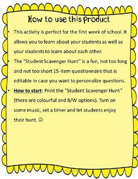 Fun Editable Student Scavenger Hunt