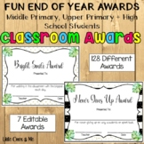 Fun End Of Year Classroom Awards Editable Upper Grades