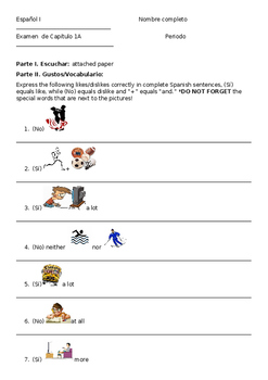 Fun Exam for Realidades I chapter 1A