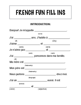 """Fun FRENCH fill ins INTRODUCTION """"Mad libs"""""""