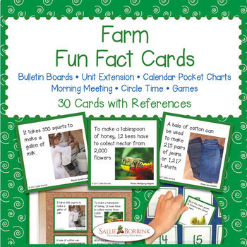 Fun Fact Cards STARTER BUNDLE - Apples, Farm, and Weather Unit Activity