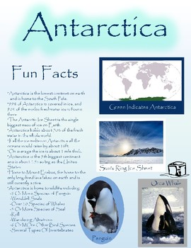 Fun Fact Sheet Antarctica