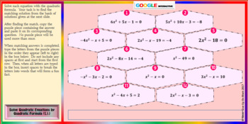 Fun Fact: Solve by Quadratic Formula L 1 (Google Interactive & Hard Copy)