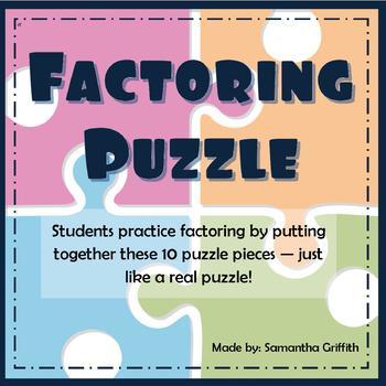 Fun Factoring Quadratics Review Puzzle