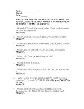 Fun Facts About George Washington Webquest