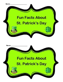 Fun Facts About St. Patrick's Day Emergent Reader