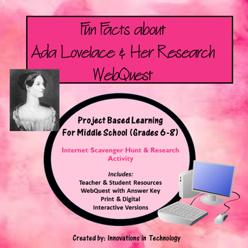Fun Facts about Ada Lovelace - Internet Scavenger Hunt