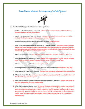 Fun Facts about Astronomy - Internet Scavenger Hunt / WebQuest