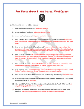 Fun Facts about Blaise Pascal - Internet Scavenger Hunt