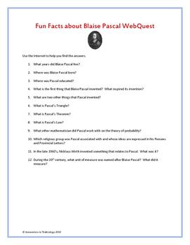 Fun Facts about Blaise Pascal - WebQuest / Internet Scavenger Hunt