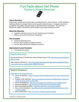 Fun Facts about Cell Phones - Internet Scavenger Hunt