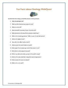 Fun Facts about Geology WebQuest - Internet Scavenger Hunt