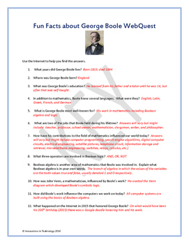 Fun Facts about George Boole - Internet Scavenger Hunt