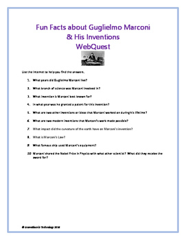 Fun Facts about Guglielmo Marconi - WebQuest / Internet Scavenger Hunt
