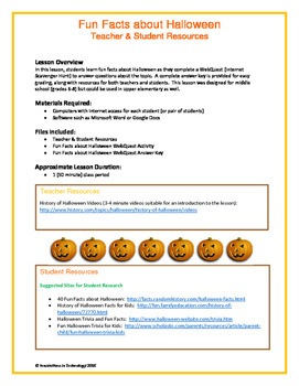 fun facts about halloween webquest internet scavenger hunt - Halloween Web Quest