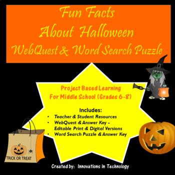 Fun Facts about Halloween WebQuest / Internet Scavenger Hunt | TpT