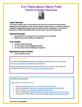 Fun Facts about Henry Ford - WebQuest / Internet Scavenger Hunt