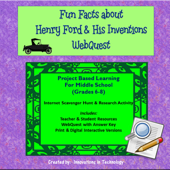 Fun Facts about Henry Ford - Internet Scavenger Hunt