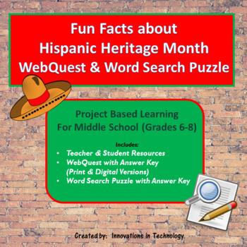 Fun Facts about Hispanic Heritage Month -  WebQuest / Internet Scavenger Hunt