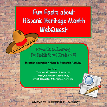 Fun Facts about Hispanic Heritage Month -  WebQuest / Internet Scavenger Hunt