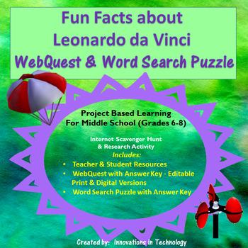 Fun Facts about Leonardo DaVinci - Internet Scavenger Hunt
