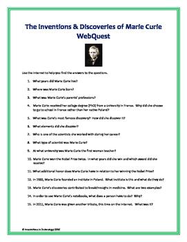 Fun Facts about Madam Marie Curie - WebQuest / Internet Scavenger Hunt