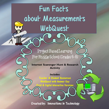 Fun Facts about Measurements WebQuest - Internet Scavenger Hunt