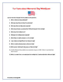 Fun Facts about Memorial Day - Internet Scavenger Hunt / WebQuest
