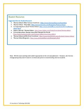 Fun Facts about Thomas Edison - WebQuest / Internet Scavenger Hunt
