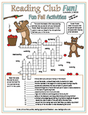 Fall Activities and Sports Fun Crossword Puzzles, Reading