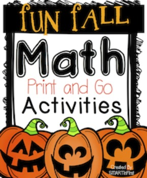Fun Fall Print and Go Math Activities Packet