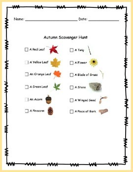 Fun Fall Scavenger Hunt - FREEBIE