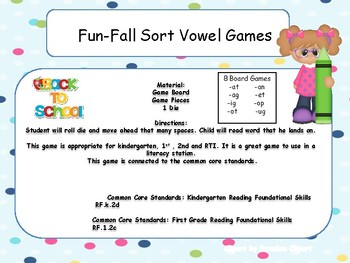 Fun-Fall Word Family Board Games
