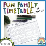Fun Family Timetable of Activities:( Free, Distance Learni