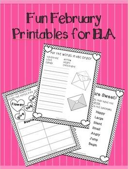 Fun February Printables for ELA