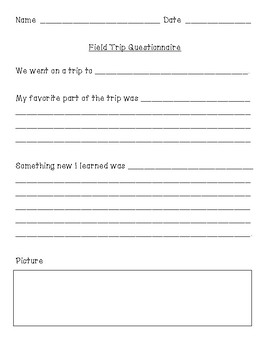 Fun Field Trip Questionnaire