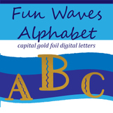 Fun Filled Waves Gold Foil Alphabet: Complete Capital Letters Pack