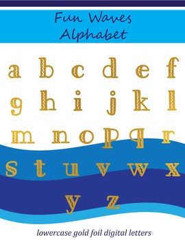 Fun Filled Waves Gold Foil Alphabet: Complete Lowercase Letters Pack