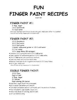 Fun Finger Paint Recipes