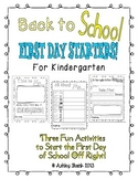 Fun First Day Activities for the First Day of Kindergarten!